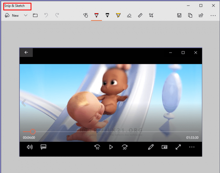 Display the screenshot in the Snip & Sketch application