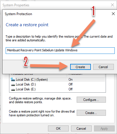 Creating a Recovery Point Before Windows Update