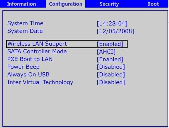 Enable WiFi from BIOS