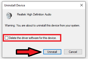 Check additional options to remove the driver and hit the 'Uninstall' button.