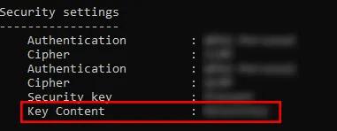 Key Content Wifi password name