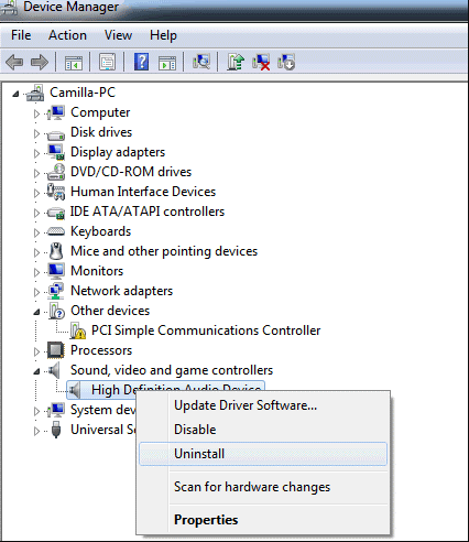 Manually remove and reinstall the device drivers
