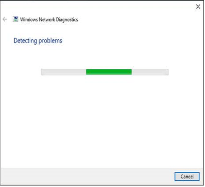 Network Troubleshooter to finish scanning your laptop