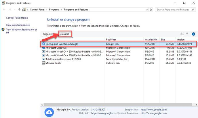 Uninstall a Different Backup Program