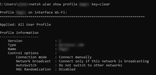 netsh wlan show profile namawifianda key = clear