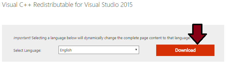 Download Visual C ++ Redistributable for Visual Studio 2015 from Microsoft directly