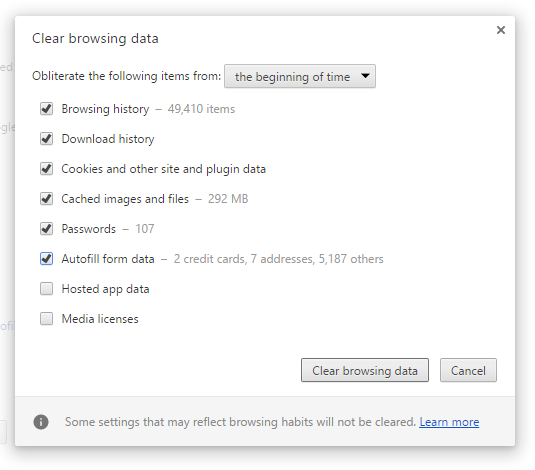 Clear the cache and cookies on the chrome