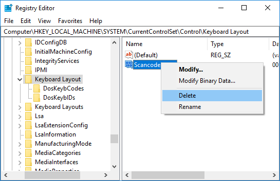 Enable or disable the Caps Lock key in Registry Editor