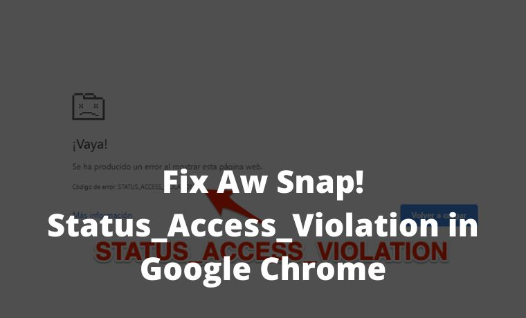 Fix Aw Snap! Status_Access_Violation in Google Chrome