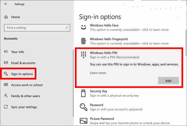 How to create Windows 10 PIN