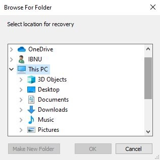 Select a location to save the file