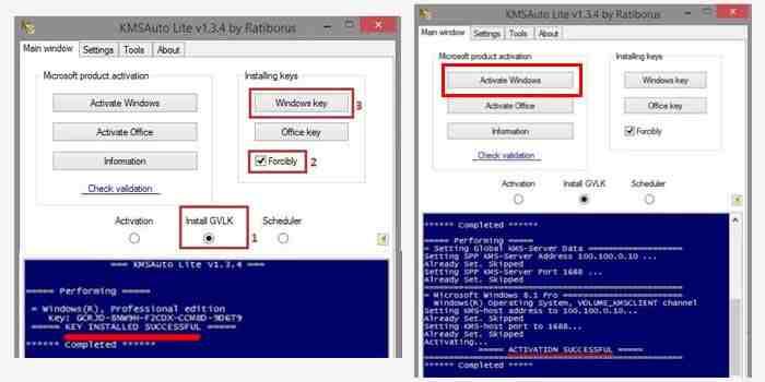 Activate Windows 8 using KMS Auto Lite