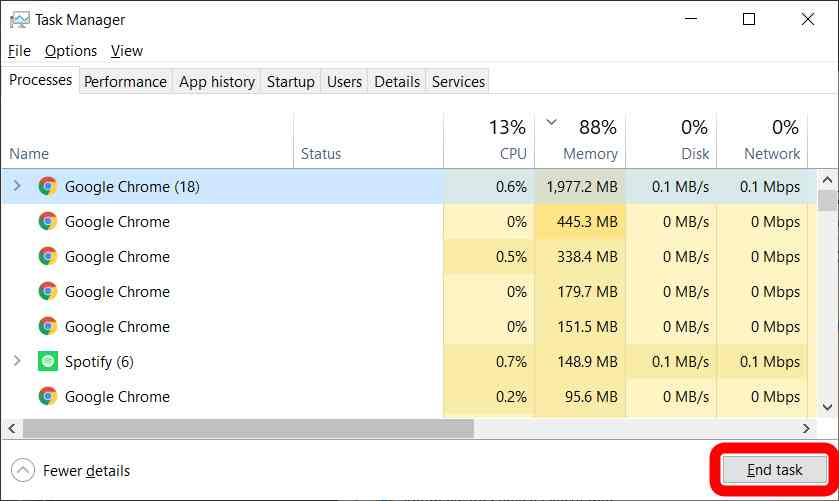 How to Force Close an Application on a Windows 10 PC Using the Windows Task Manager