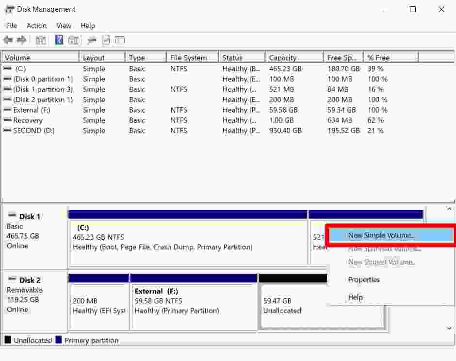 How to Partition an External Disk in Windows 10