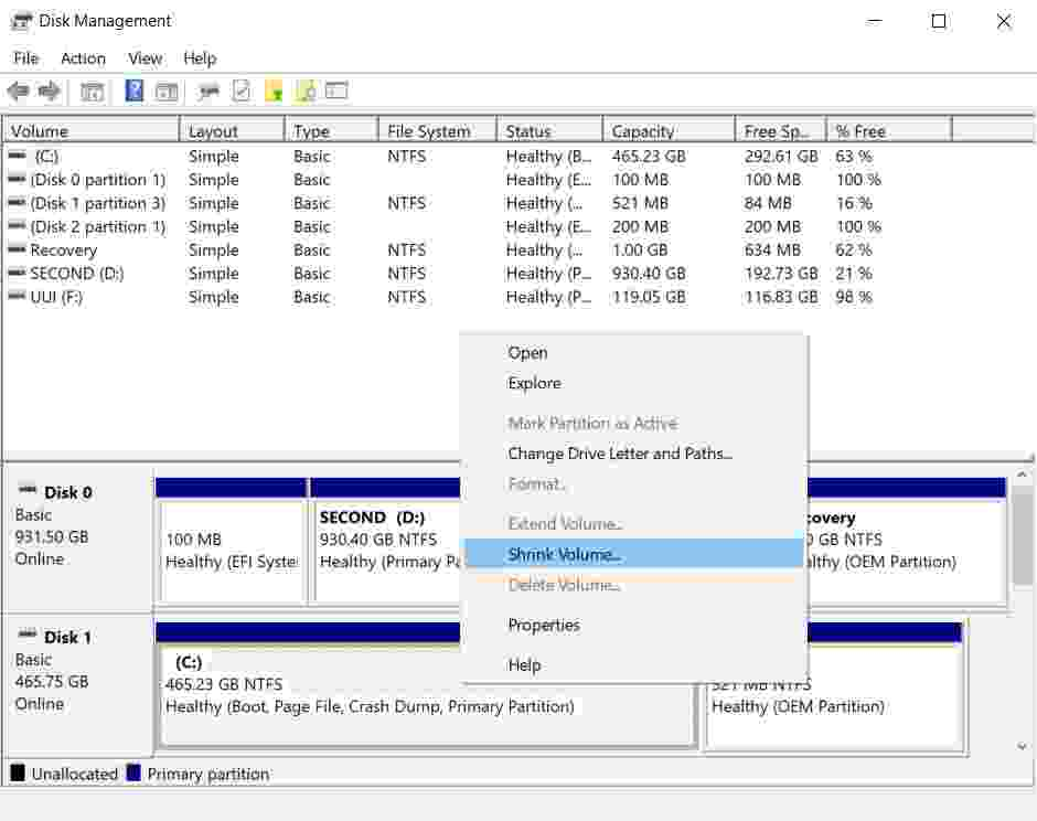 How to partition a Windows 10 hard disk