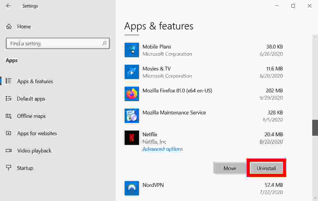 How to uninstall applications on Windows 10 via Settings