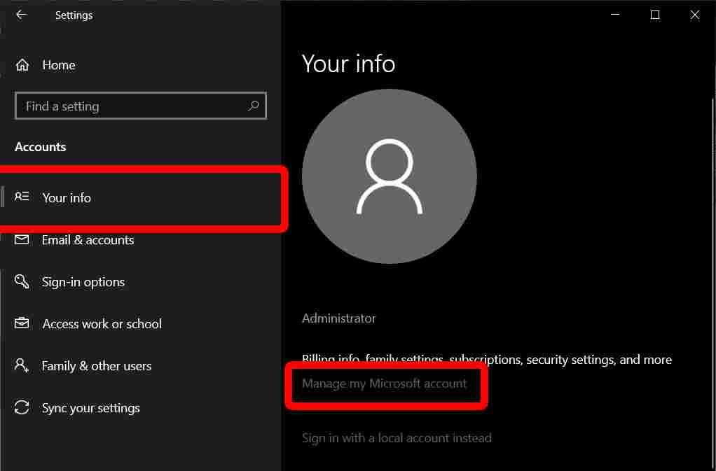 Reset Administrator Password on Windows 10