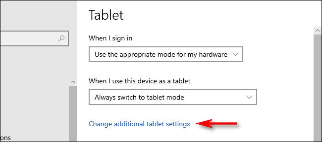 Switch Tablet Mode Using Windows Settings