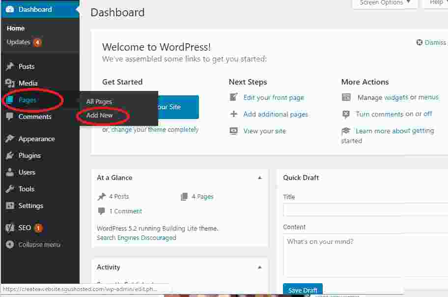Adding pages to your blog