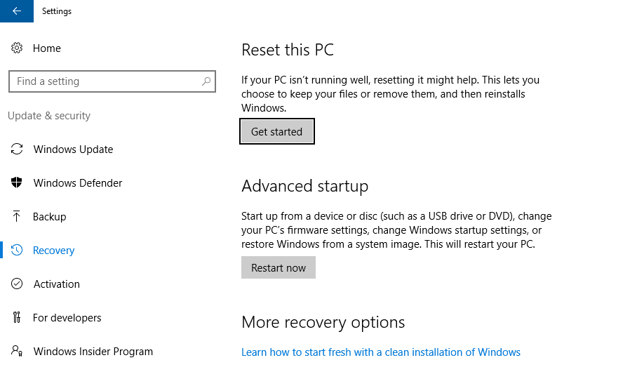 Reset your Windows 10