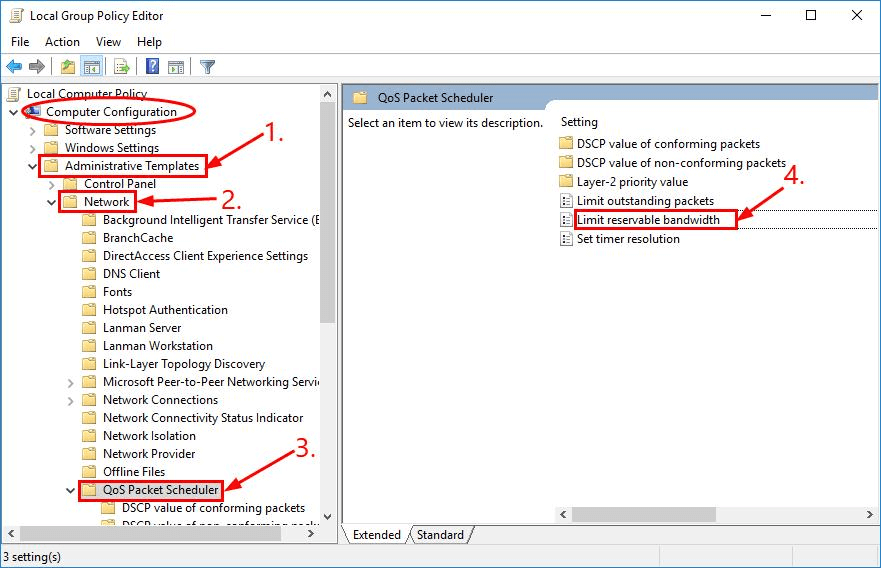 Set Internet Bandwidth Settings