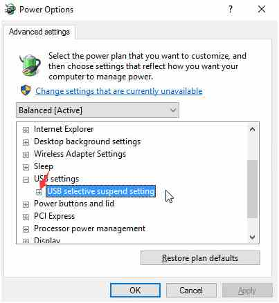 Change the USB Selective Suspend Settings