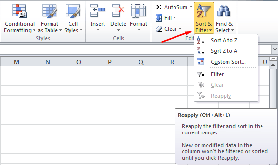Filtering Data on Table