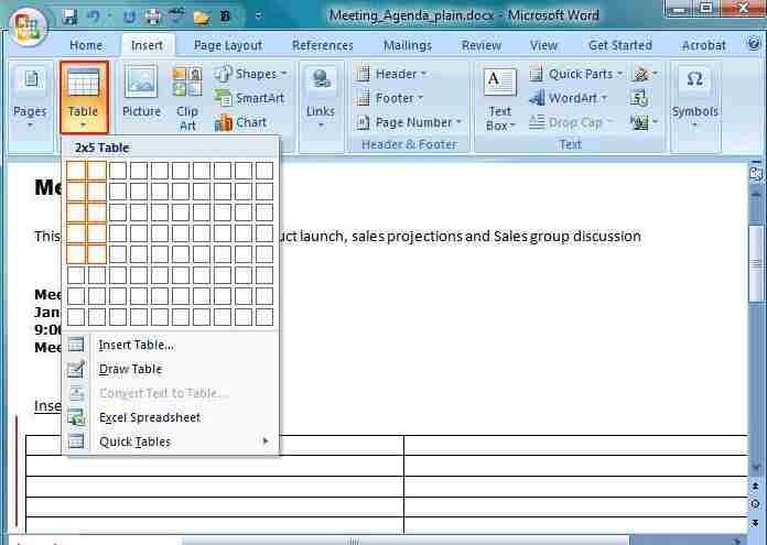 How to Add Blank Table in Word