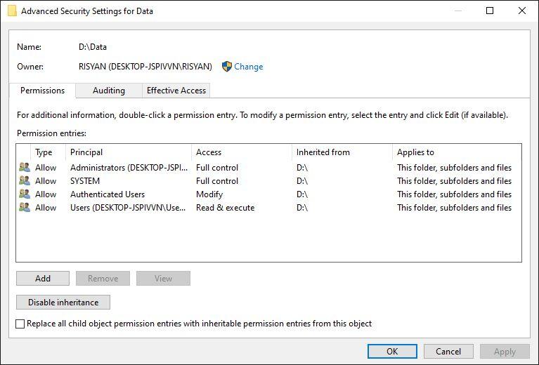Change File Ownership Settings