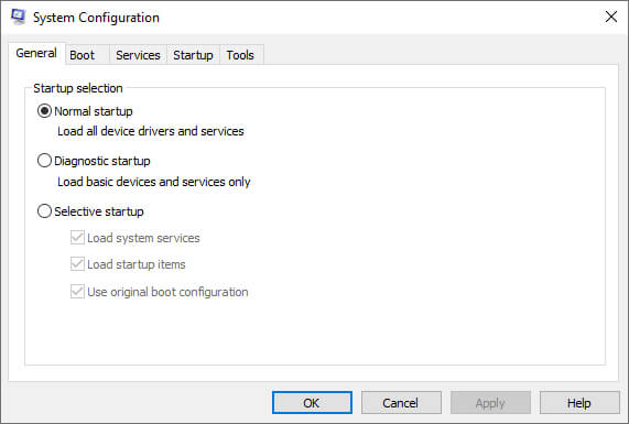 Change Startup Options From Selective To Normal