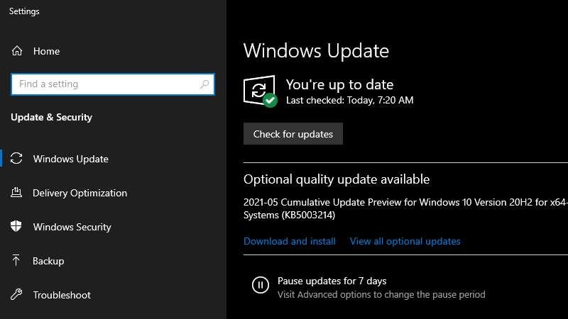 Check System Update Pembaruan
