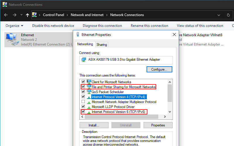 Enable IPV6 And File & Printer Sharing For Network Connected