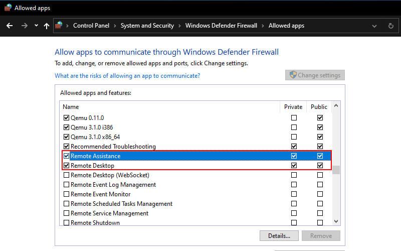 Enable Remote DesktopAssistance In Firewall