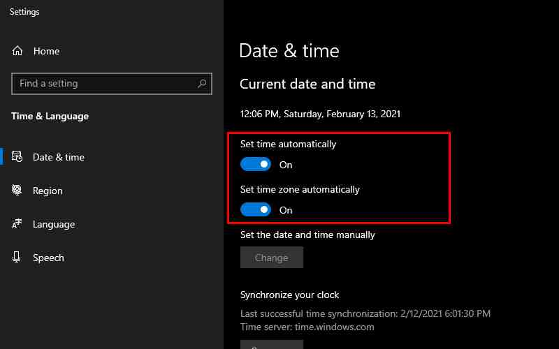 Fix Date And Time Settings