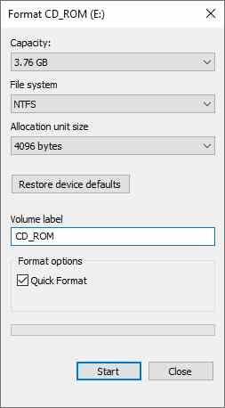 Format External Disk Drive