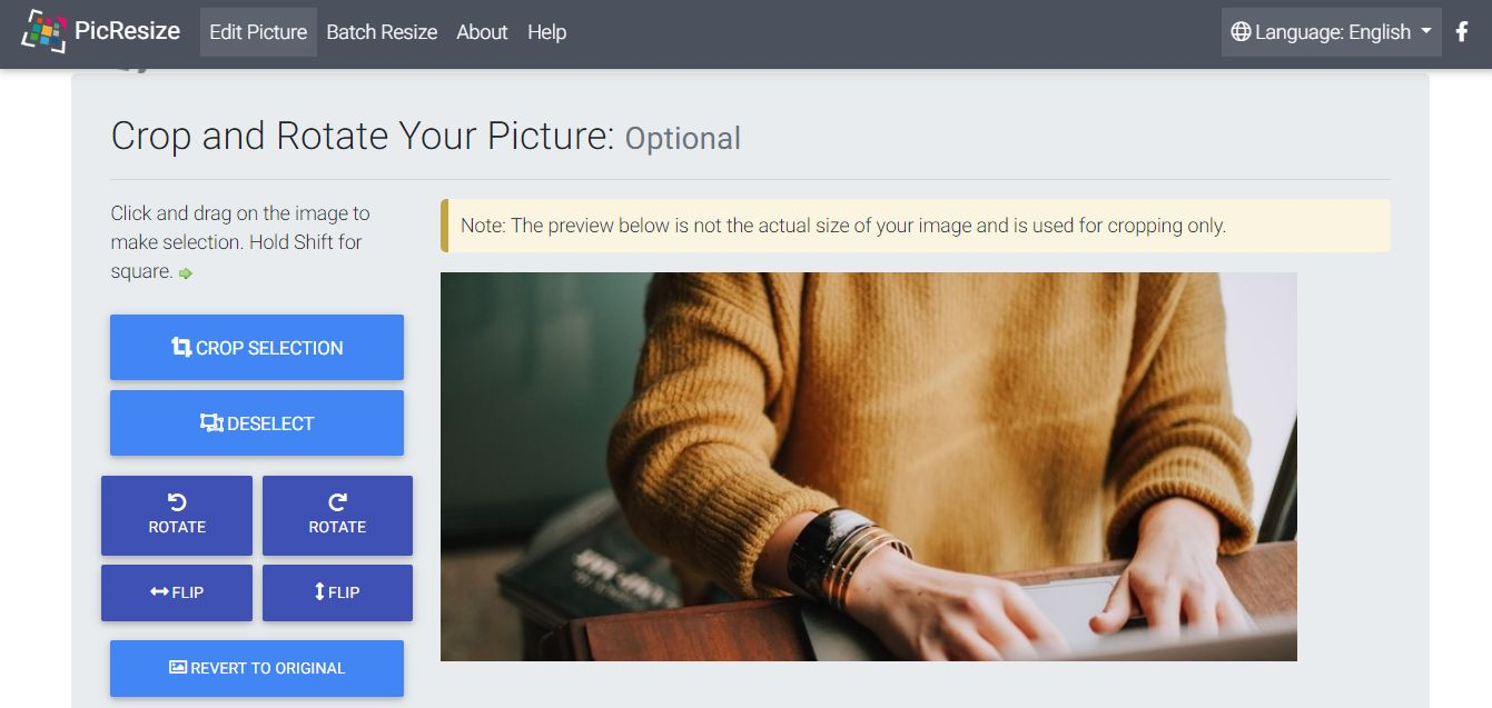 Picresize Crop, Resize, Edit images online for free