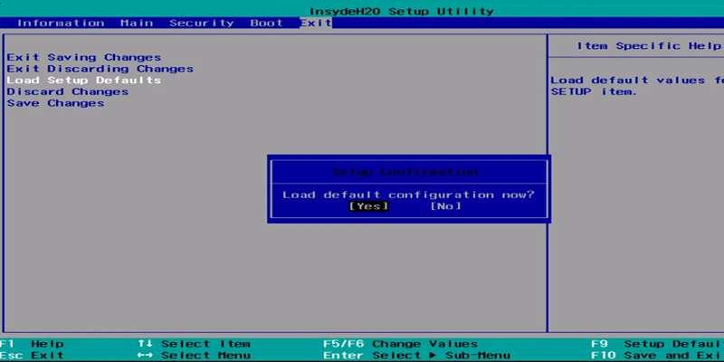 Reset BIOSUEFI Configuration