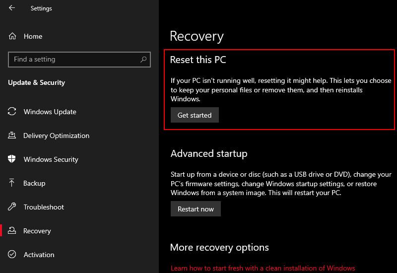 Reset Windows 10 (Final Option)