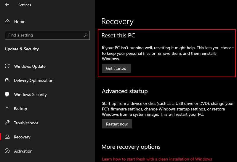 Reset Windows 10 (Last Choice)