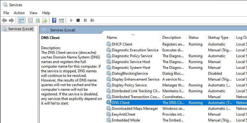 Restart Windows DNS Client Service