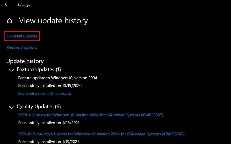 Roll Back Windows Update