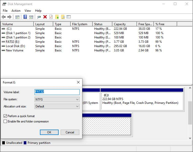 Try Formatting Through Disk Management