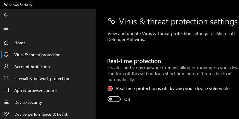 Turn off Antivirus and Firewall Protection