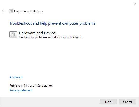 Use Hardware Troubleshooter