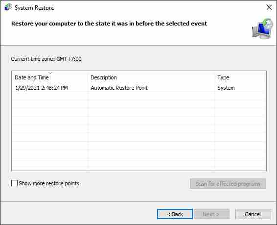 Use System Restore To Restore PC