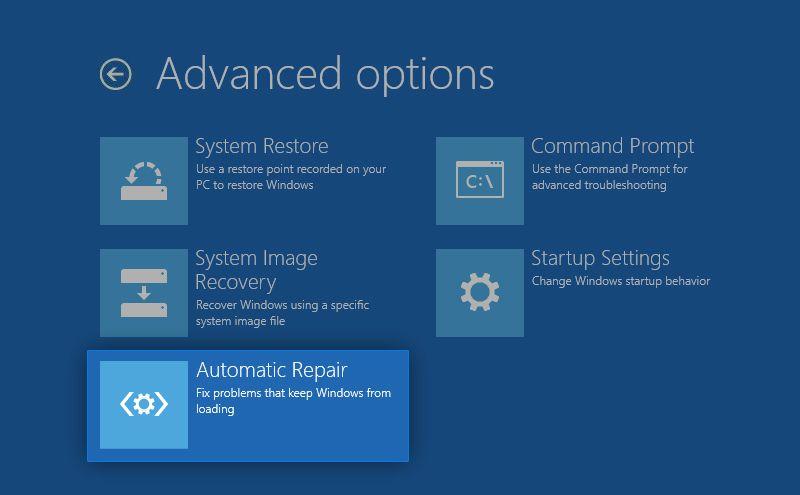 Use Windows 10 Automatic Repair Tool