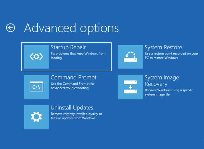 Windows Startup Repair From Advanced Options