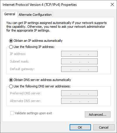 Check Manual IP Address Setting
