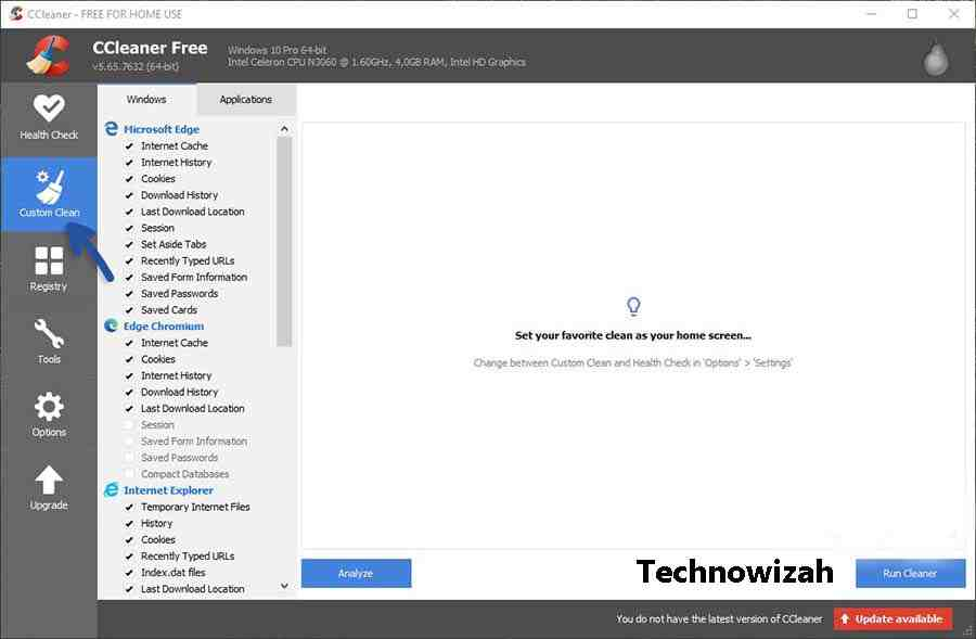Clear Cache with CCleaner