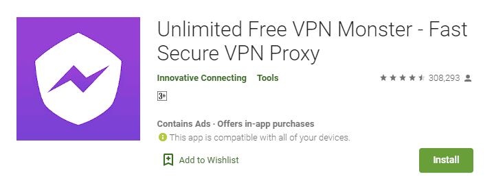 Unlimited Free VPN Monster